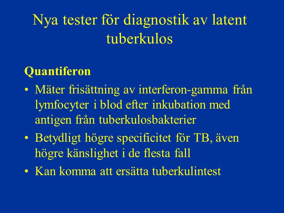 Nya tester för diagnostik av latent tuberkulos Quantiferon Mäter frisättning av interferon-gamma från lymfocyter i blod efter inkubation med antigen f