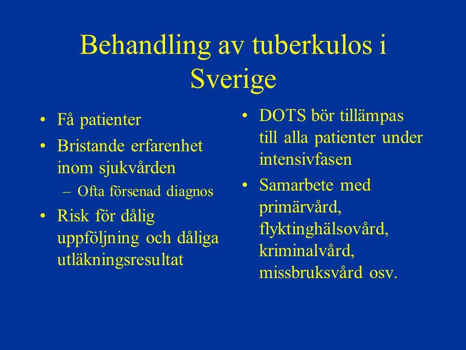 Behandling av tuberkulos i Sverige Få patienter Bristande erfarenhet inom sjukvården –Ofta försenad diagnos Risk för dålig uppföljning och dåliga utlä