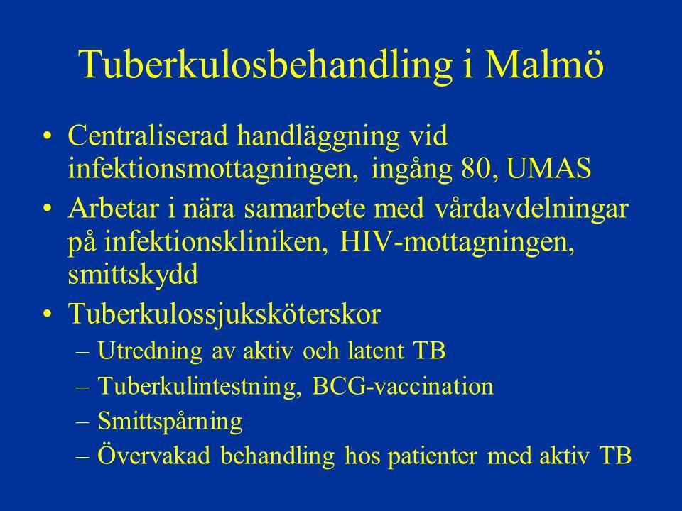 Tuberkulosbehandling i Malmö Centraliserad handläggning vid infektionsmottagningen, ingång 80, UMAS Arbetar i nära samarbete med vårdavdelningar på in