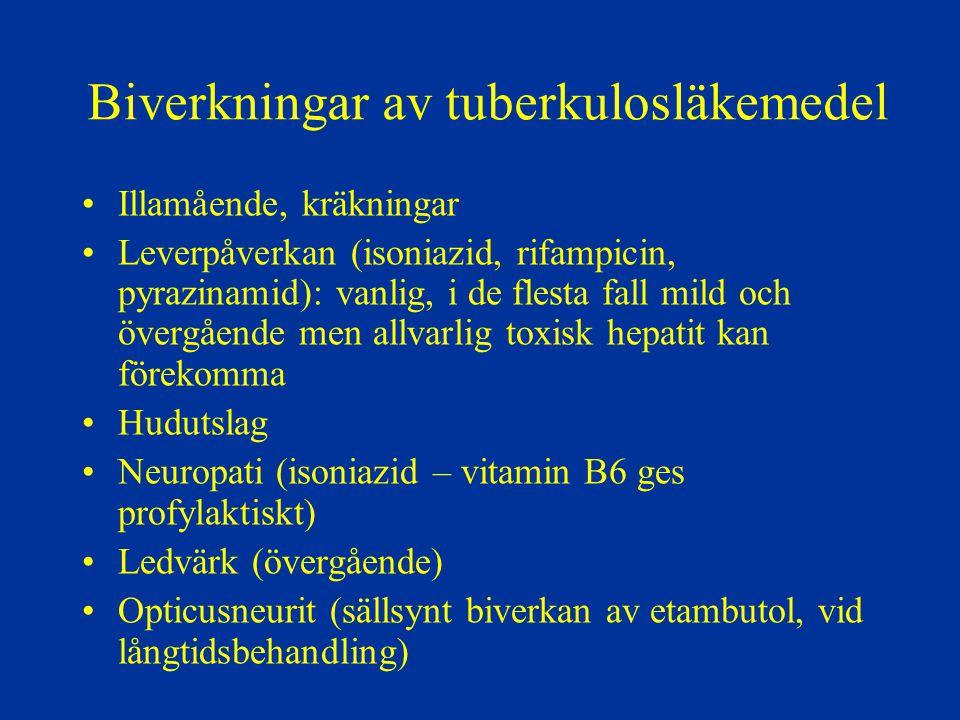 Biverkningar av tuberkulosläkemedel Illamående, kräkningar Leverpåverkan (isoniazid, rifampicin, pyrazinamid): vanlig, i de flesta fall mild och överg