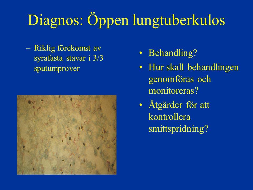 Diagnos: Öppen lungtuberkulos –Riklig förekomst av syrafasta stavar i 3/3 sputumprover Behandling? Hur skall behandlingen genomföras och monitoreras?
