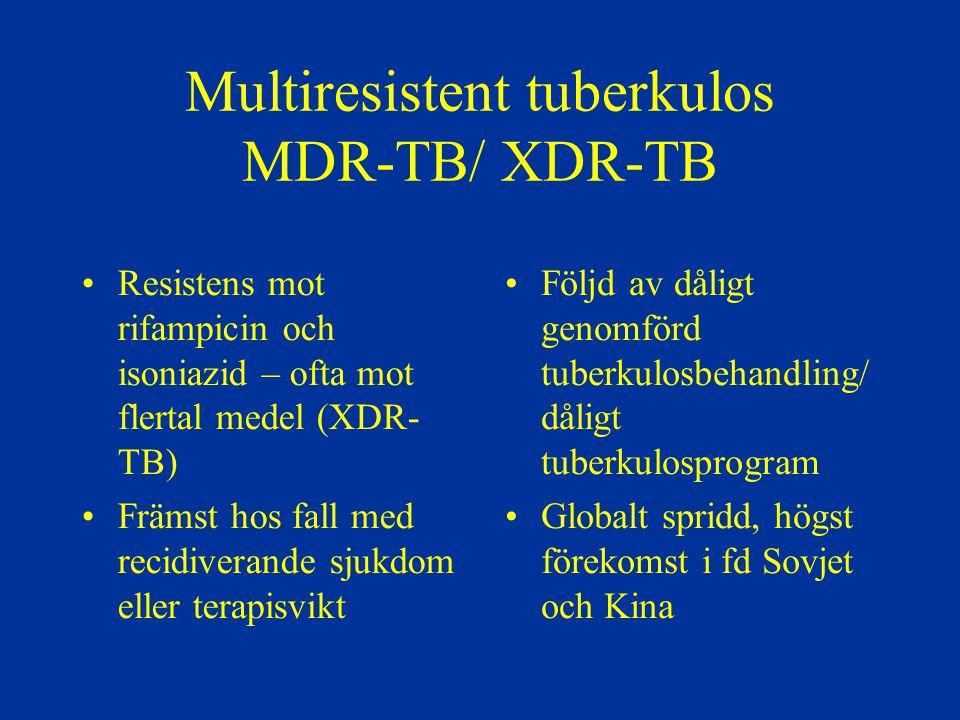 Multiresistent tuberkulos MDR-TB/ XDR-TB Resistens mot rifampicin och isoniazid – ofta mot flertal medel (XDR- TB) Främst hos fall med recidiverande s