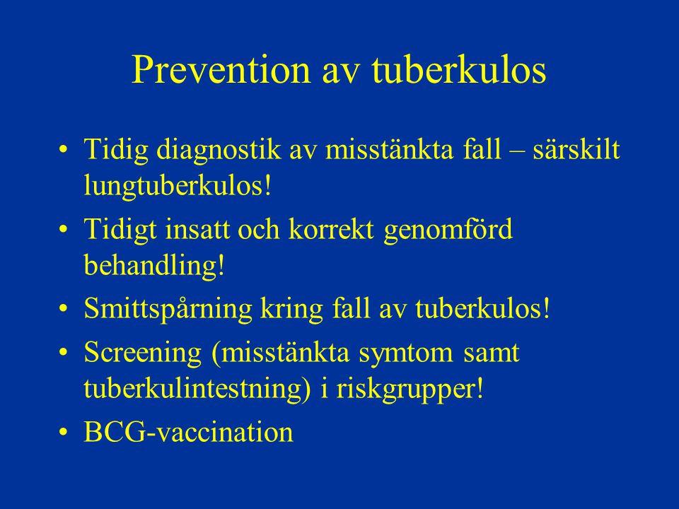 Prevention av tuberkulos Tidig diagnostik av misstänkta fall – särskilt lungtuberkulos! Tidigt insatt och korrekt genomförd behandling! Smittspårning