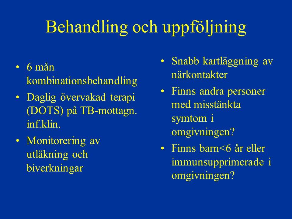Behandling av tuberkulos i Sverige Få patienter Bristande erfarenhet inom sjukvården –Ofta försenad diagnos Risk för dålig uppföljning och dåliga utläkningsresultat DOTS bör tillämpas till alla patienter under intensivfasen Samarbete med primärvård, flyktinghälsovård, kriminalvård, missbruksvård osv.
