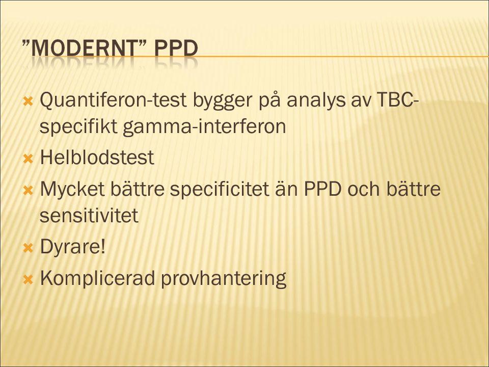  Quantiferon-test bygger på analys av TBC- specifikt gamma-interferon  Helblodstest  Mycket bättre specificitet än PPD och bättre sensitivitet  Dy