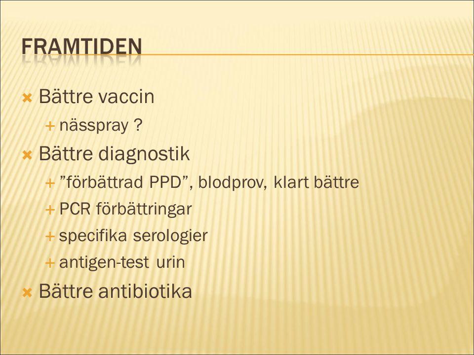 """ Bättre vaccin  nässpray ?  Bättre diagnostik  """"förbättrad PPD"""", blodprov, klart bättre  PCR förbättringar  specifika serologier  antigen-test"""