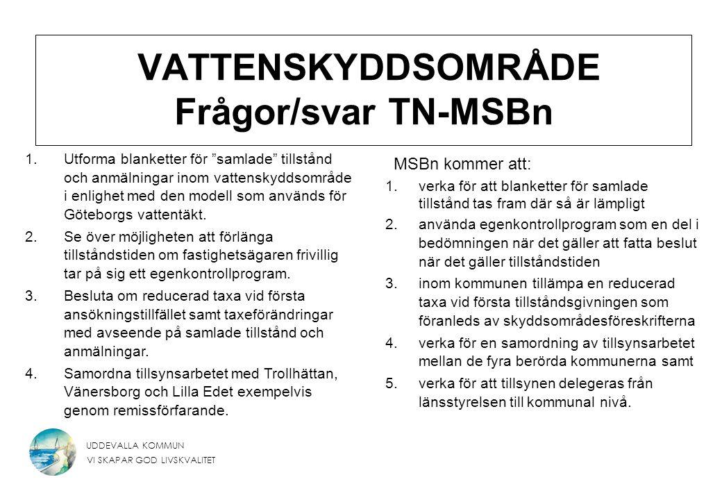 """UDDEVALLA KOMMUN VI SKAPAR GOD LIVSKVALITET VATTENSKYDDSOMRÅDE Frågor/svar TN-MSBn 1.Utforma blanketter för """"samlade"""" tillstånd och anmälningar inom v"""