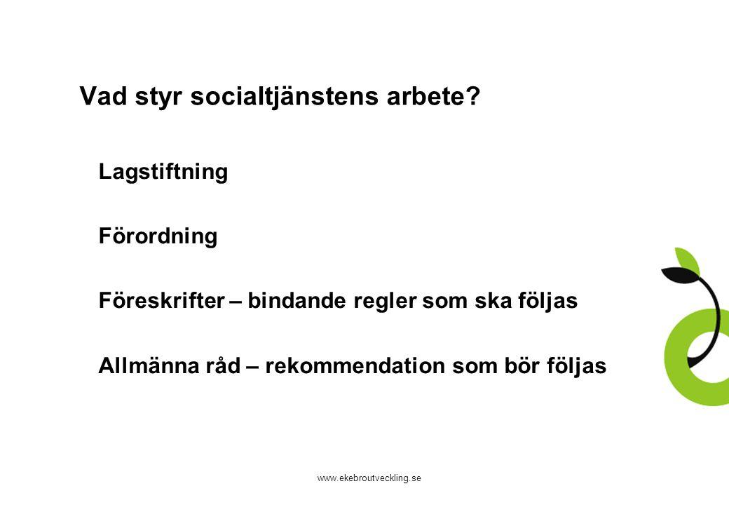 www.ekebroutveckling.se Vad styr socialtjänstens arbete? 1.Lagstiftning 2.Förordning 3.Föreskrifter – bindande regler som ska följas 4.Allmänna råd –