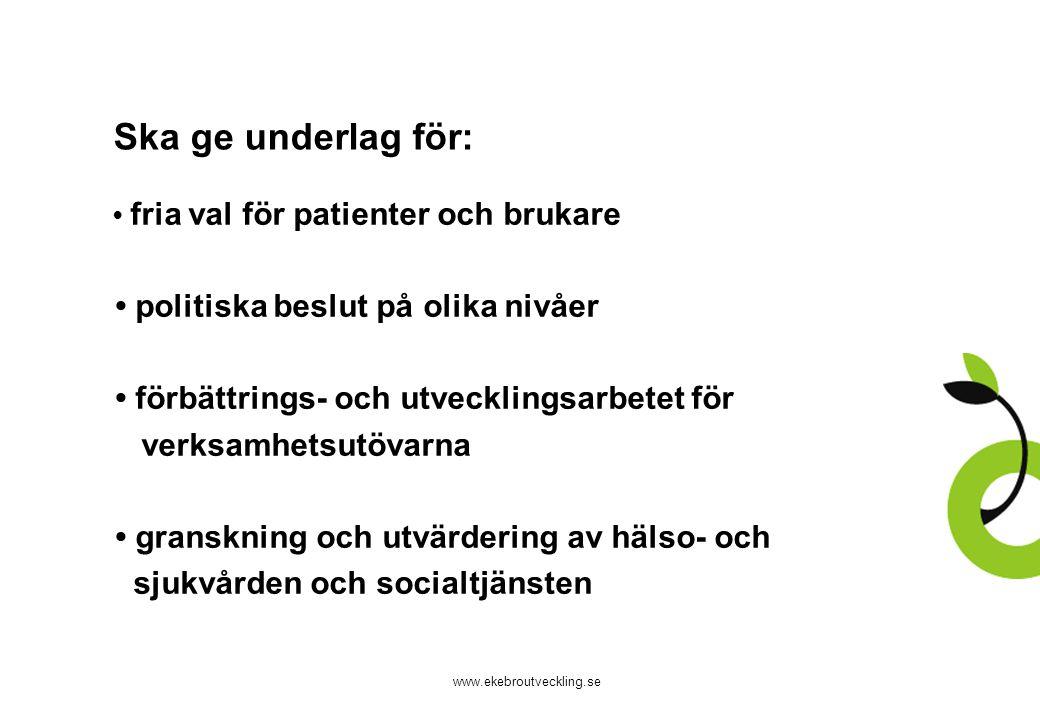 www.ekebroutveckling.se Ska ge underlag för: fria val för patienter och brukare politiska beslut på olika nivåer förbättrings- och utvecklingsarbetet