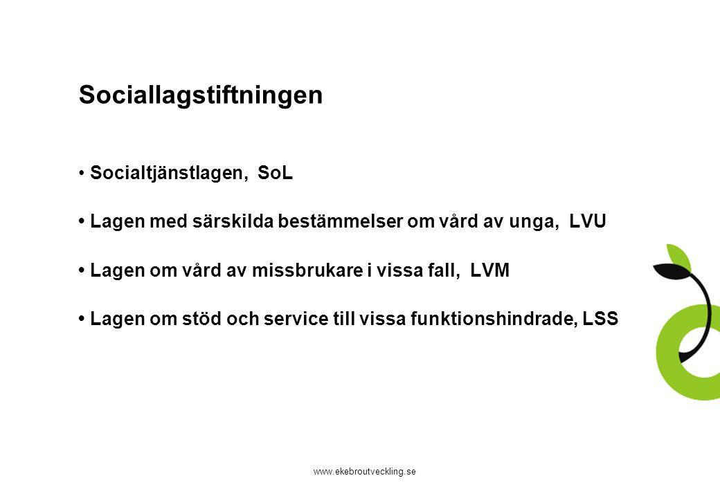 www.ekebroutveckling.se Sociallagstiftningen Socialtjänstlagen, SoL Lagen med särskilda bestämmelser om vård av unga, LVU Lagen om vård av missbrukare