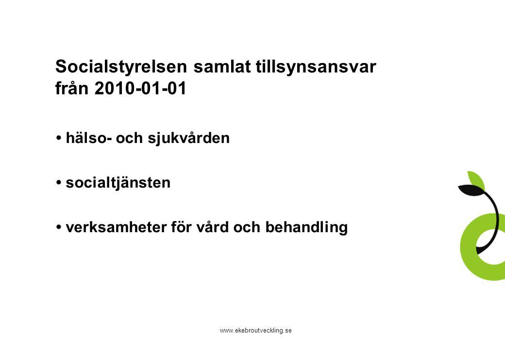 www.ekebroutveckling.se Socialstyrelsen samlat tillsynsansvar från 2010-01-01 hälso- och sjukvården socialtjänsten verksamheter för vård och behandling