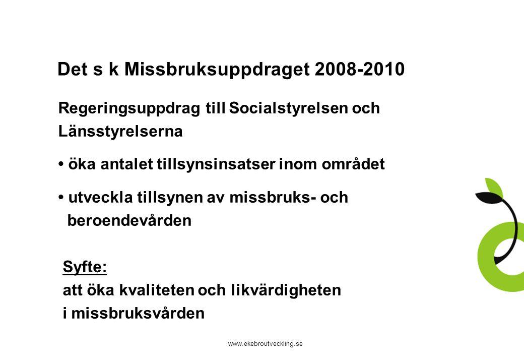 www.ekebroutveckling.se Det s k Missbruksuppdraget 2008-2010 Regeringsuppdrag till Socialstyrelsen och Länsstyrelserna öka antalet tillsynsinsatser in
