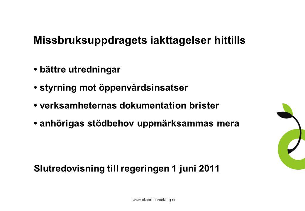 www.ekebroutveckling.se Missbruksuppdragets iakttagelser hittills bättre utredningar styrning mot öppenvårdsinsatser verksamheternas dokumentation bri