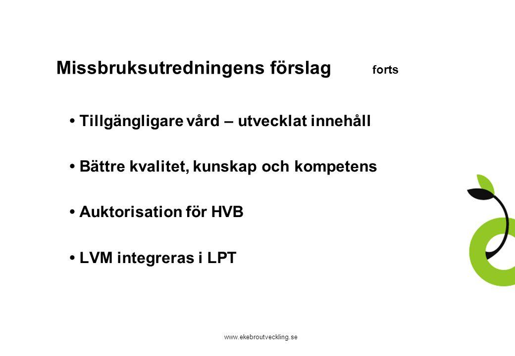 www.ekebroutveckling.se Missbruksutredningens förslag forts Tillgängligare vård – utvecklat innehåll Bättre kvalitet, kunskap och kompetens Auktorisation för HVB LVM integreras i LPT