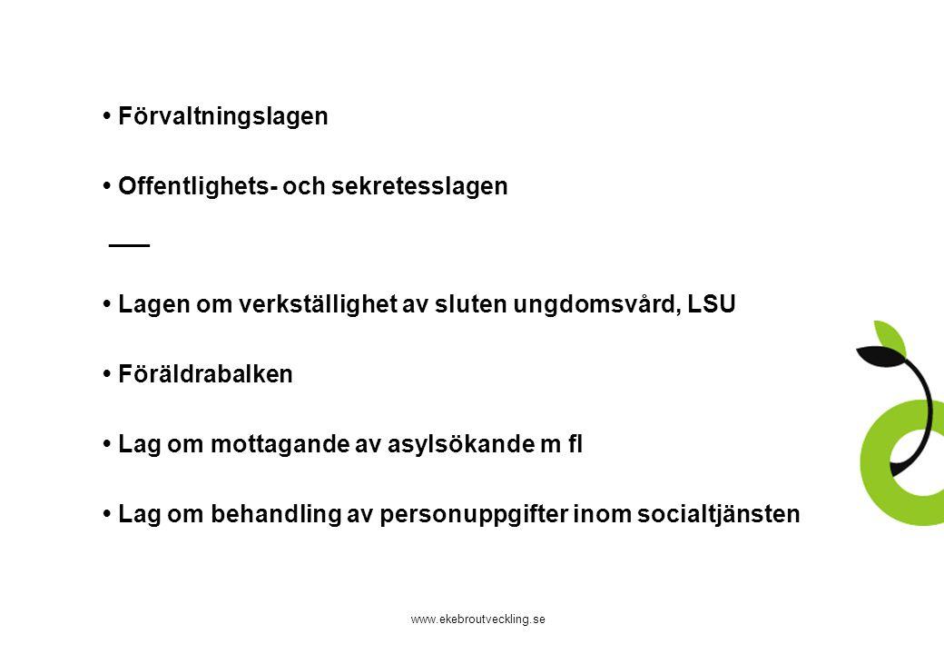 www.ekebroutveckling.se Förvaltningslagen Offentlighets- och sekretesslagen ___ Lagen om verkställighet av sluten ungdomsvård, LSU Föräldrabalken Lag