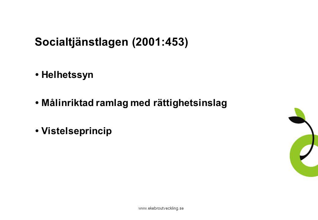 www.ekebroutveckling.se Missbruksutredningens förslag Landstinget ska ansvara för: tillnyktring, abstinensvård och behandling Kommunen ska ansvara för: stöd, boende, försörjning och sysselsättning Vårdgaranti 30 dagar Lagreglerat ansvar för tidig upptäckt Ny lag, LMB – komplement till SoL och HSL