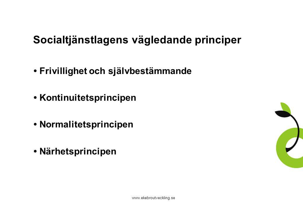 www.ekebroutveckling.se Socialtjänstlagens vägledande principer Frivillighet och självbestämmande Kontinuitetsprincipen Normalitetsprincipen Närhetspr