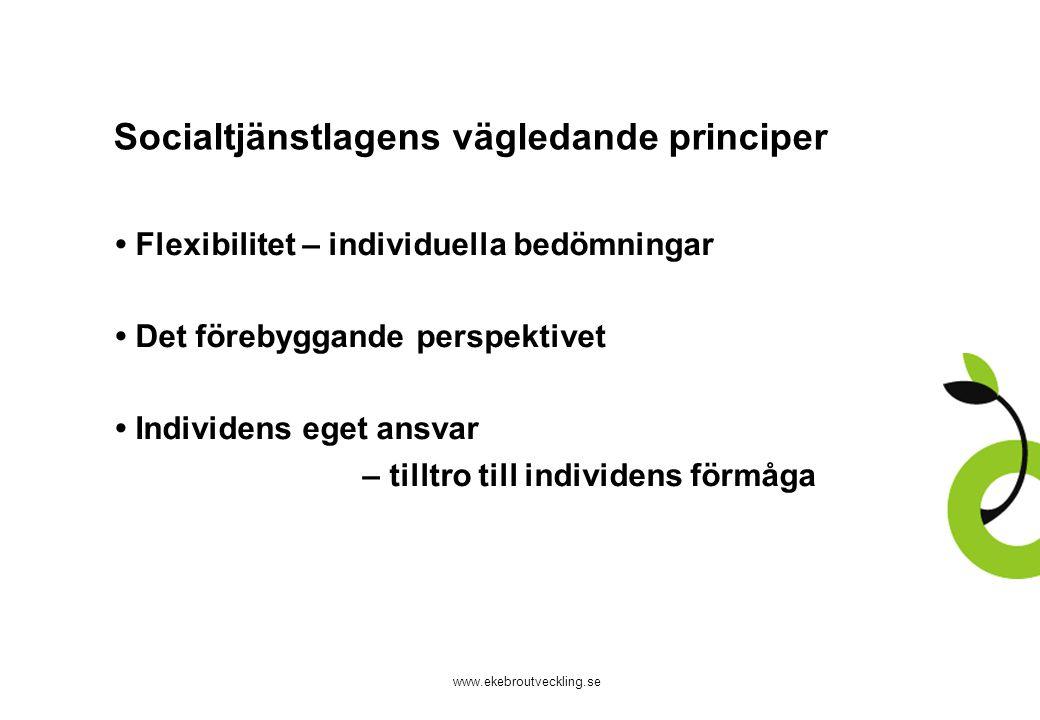 www.ekebroutveckling.se Socialtjänstlagens vägledande principer Flexibilitet – individuella bedömningar Det förebyggande perspektivet Individens eget ansvar – tilltro till individens förmåga