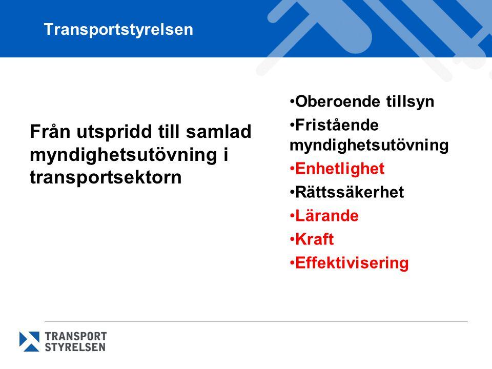 Transportstyrelsen Oberoende tillsyn Fristående myndighetsutövning Enhetlighet Rättssäkerhet Lärande Kraft Effektivisering Från utspridd till samlad myndighetsutövning i transportsektorn
