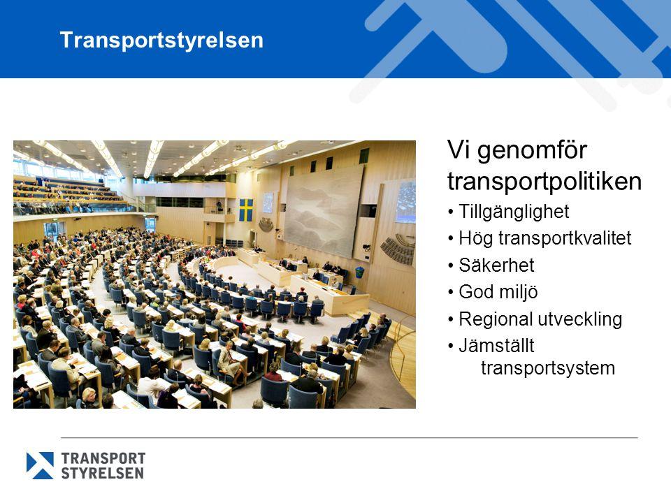 Transportstyrelsen Vi genomför transportpolitiken Tillgänglighet Hög transportkvalitet Säkerhet God miljö Regional utveckling Jämställt transportsystem