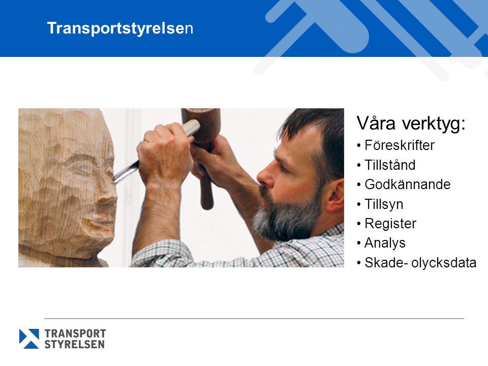 Våra verktyg: Föreskrifter Tillstånd Godkännande Tillsyn Register Analys Skade- olycksdata Transportstyrelsen
