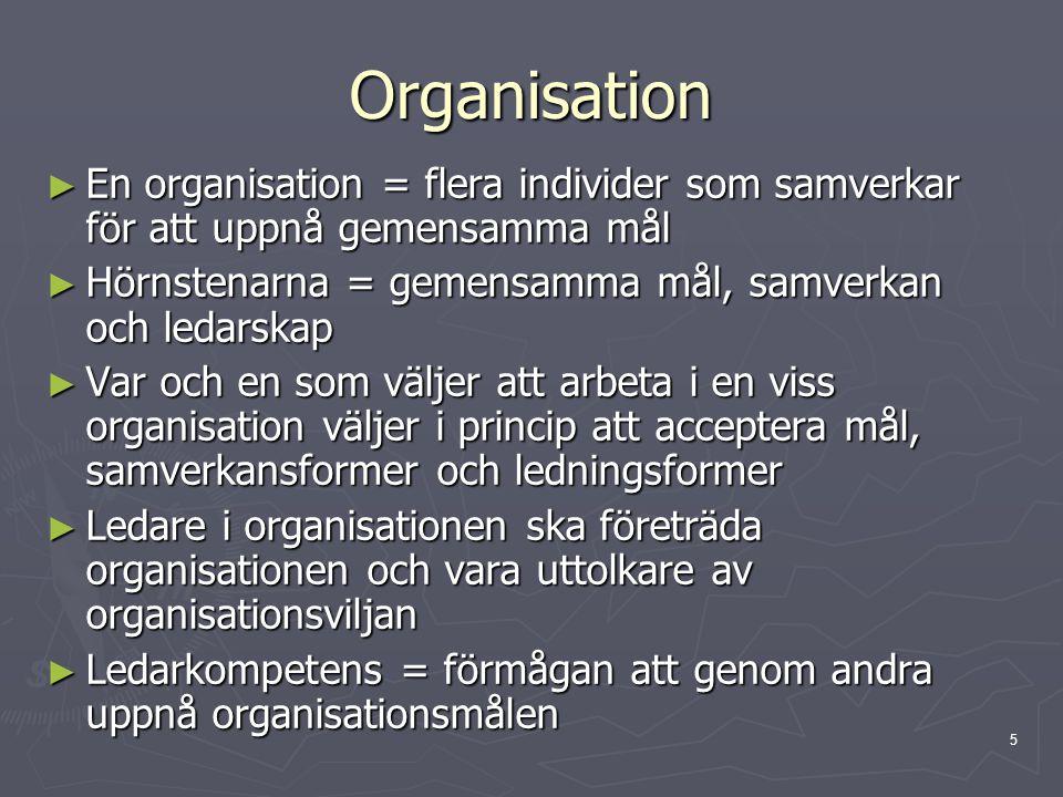 5 Organisation ► En organisation = flera individer som samverkar för att uppnå gemensamma mål ► Hörnstenarna = gemensamma mål, samverkan och ledarskap