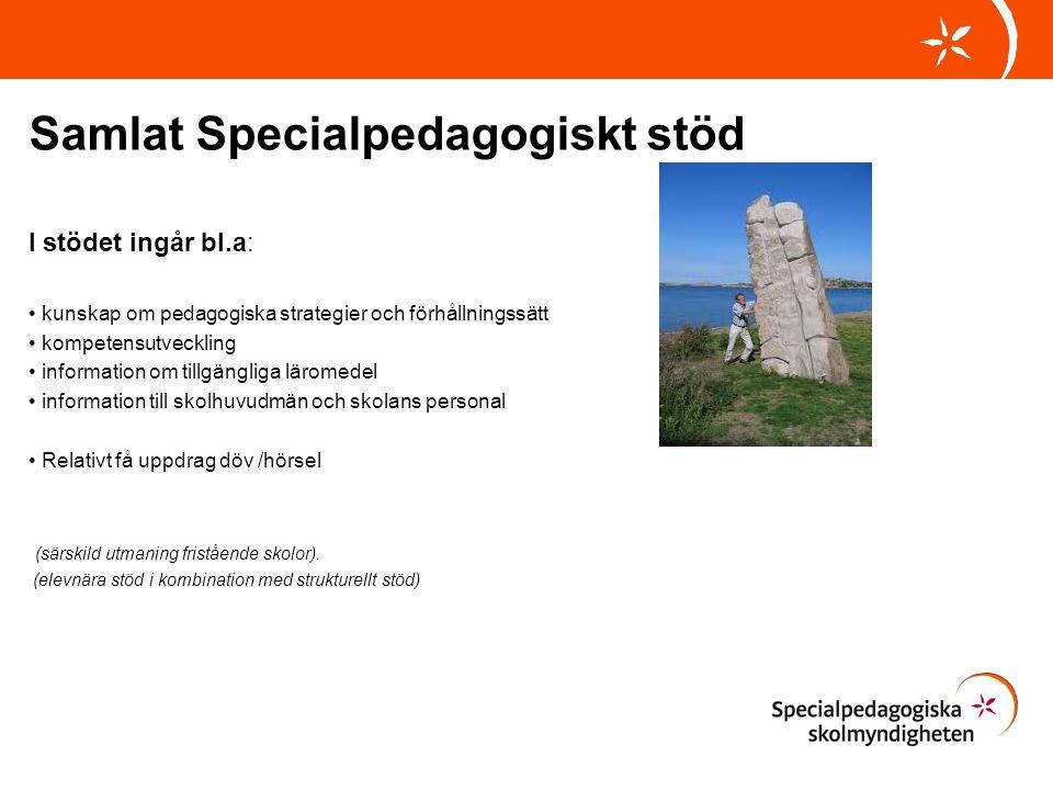 Samlat Specialpedagogiskt stöd I stödet ingår bl.a: kunskap om pedagogiska strategier och förhållningssätt kompetensutveckling information om tillgäng