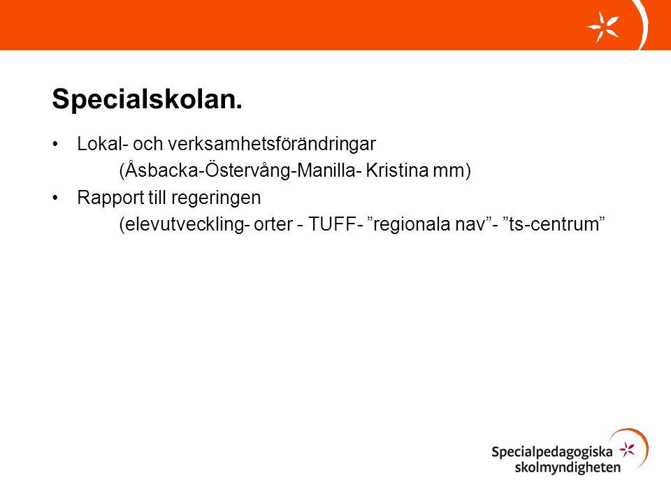 """Specialskolan. Lokal- och verksamhetsförändringar (Åsbacka-Östervång-Manilla- Kristina mm) Rapport till regeringen (elevutveckling- orter - TUFF- """"reg"""