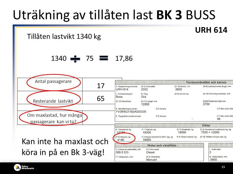 15 Antal passagerare Resterande lastvikt Om maxlastad, hur många passagerare kan vi ta.