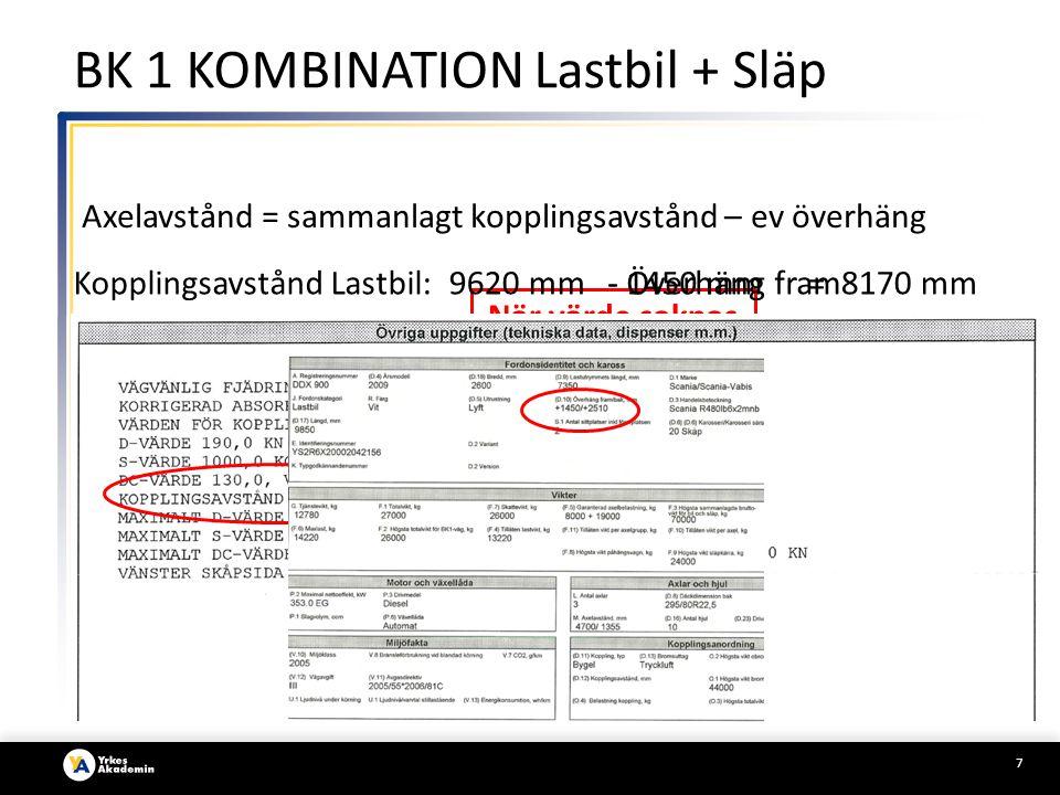 7 BK 1 KOMBINATION Lastbil + Släp Axelavstånd = sammanlagt kopplingsavstånd – ev överhäng Kopplingsavstånd Lastbil: När värde saknas här se Sid 2 9620 mm- Överhäng fram- 1450 mm= 8170 mm
