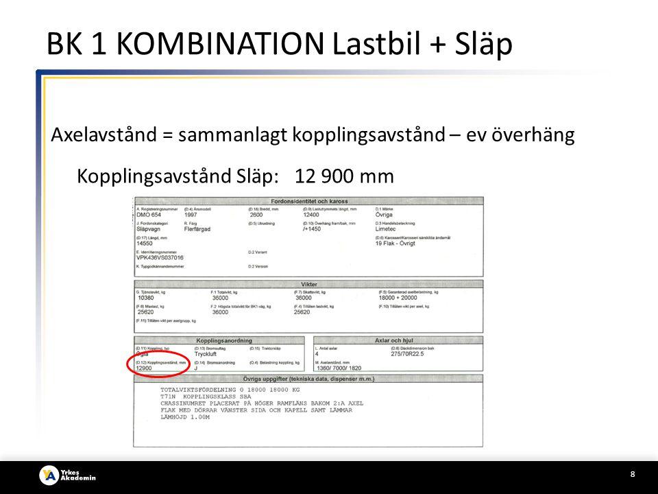8 Axelavstånd = sammanlagt kopplingsavstånd – ev överhäng Kopplingsavstånd Släp:12 900 mm BK 1 KOMBINATION Lastbil + Släp