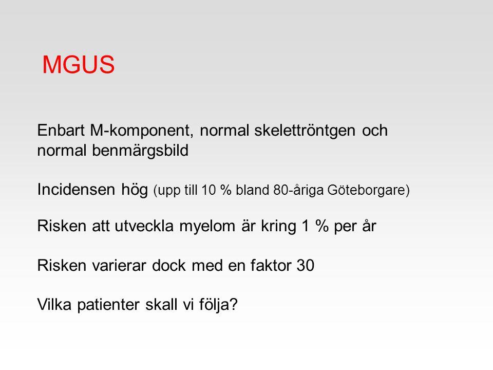 Enbart M-komponent, normal skelettröntgen och normal benmärgsbild Incidensen hög (upp till 10 % bland 80-åriga Göteborgare) Risken att utveckla myelom