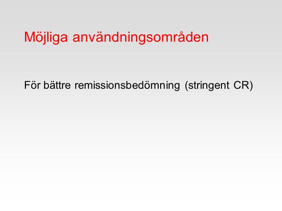Möjliga användningsområden För bättre remissionsbedömning (stringent CR)
