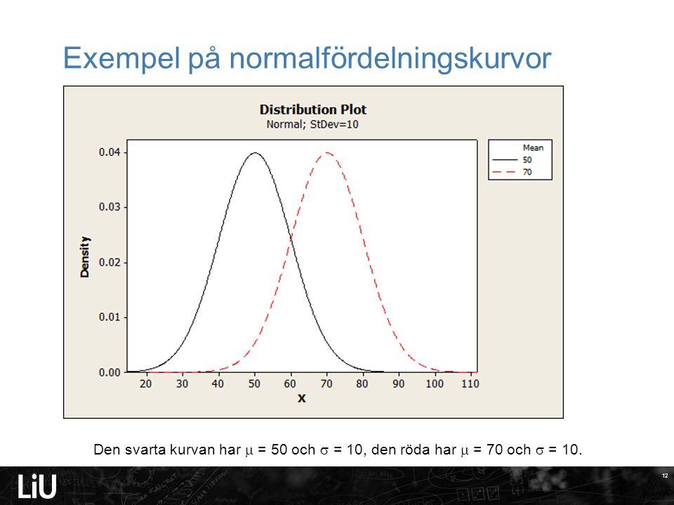 12 Exempel på normalfördelningskurvor Den svarta kurvan har  = 50 och  = 10, den röda har  = 70 och  = 10.