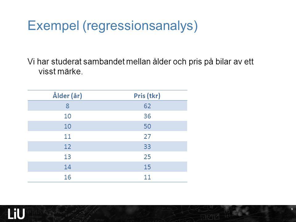 5 Exempel (regressionsanalys) Vi har studerat sambandet mellan ålder och pris på bilar av ett visst märke.