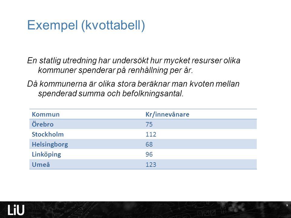 9 Exempel (kvottabell) En statlig utredning har undersökt hur mycket resurser olika kommuner spenderar på renhållning per år.