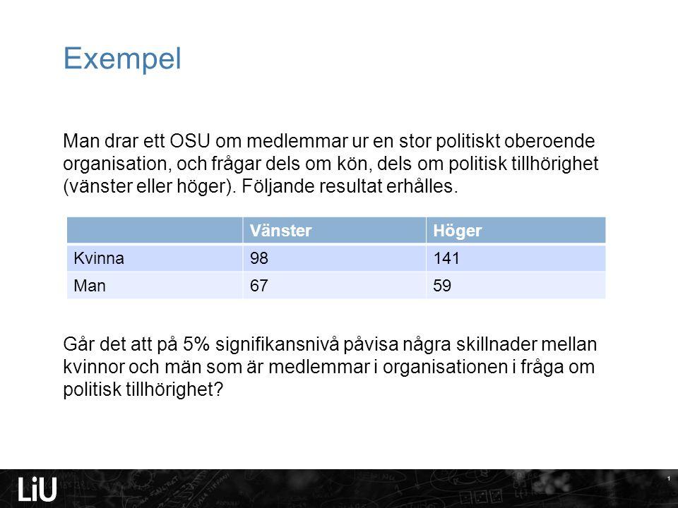 1 Exempel Man drar ett OSU om medlemmar ur en stor politiskt oberoende organisation, och frågar dels om kön, dels om politisk tillhörighet (vänster eller höger).