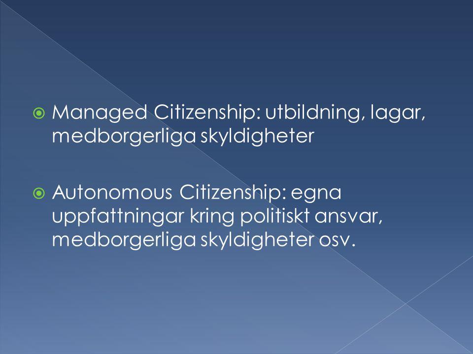  Managed Citizenship: utbildning, lagar, medborgerliga skyldigheter  Autonomous Citizenship: egna uppfattningar kring politiskt ansvar, medborgerliga skyldigheter osv.
