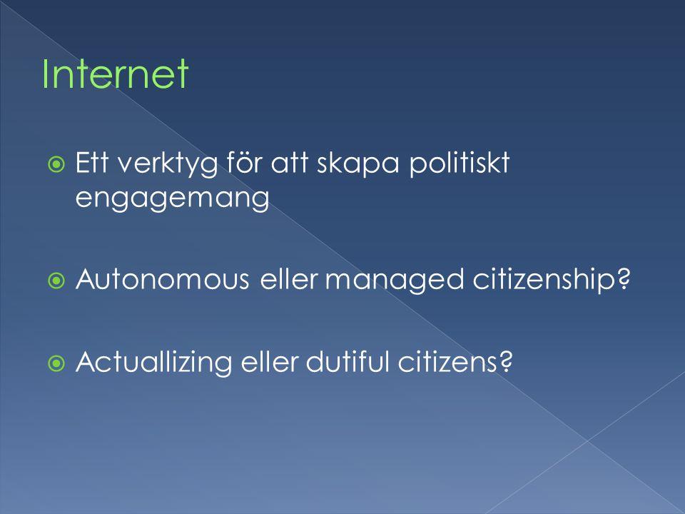  Ett verktyg för att skapa politiskt engagemang  Autonomous eller managed citizenship.