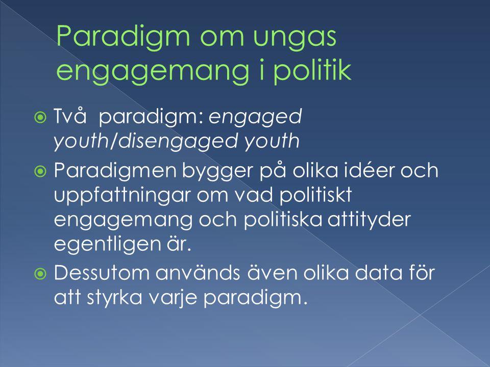  Två paradigm: engaged youth/disengaged youth  Paradigmen bygger på olika idéer och uppfattningar om vad politiskt engagemang och politiska attityder egentligen är.