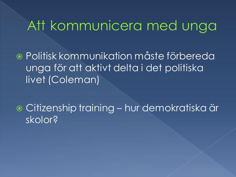  Politisk kommunikation måste förbereda unga för att aktivt delta i det politiska livet (Coleman)  Citizenship training – hur demokratiska är skolor