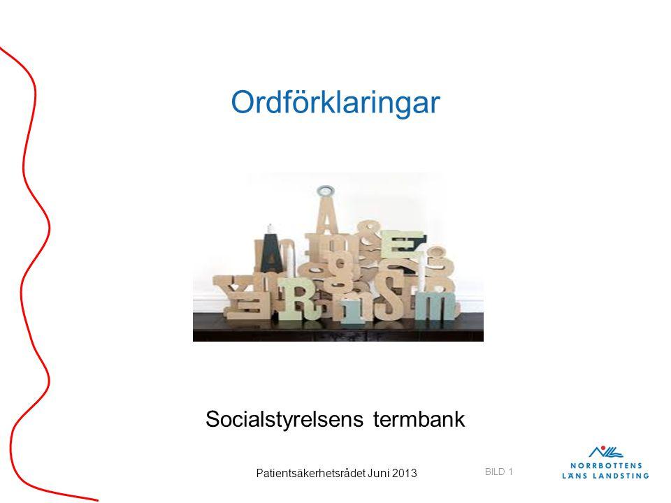 BILD 1 Patientsäkerhetsrådet Juni 2013 Ordförklaringar Socialstyrelsens termbank