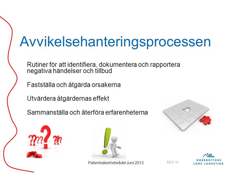 BILD 10 Patientsäkerhetsrådet Juni 2013 Avvikelsehanteringsprocessen Rutiner för att identifiera, dokumentera och rapportera negativa händelser och ti