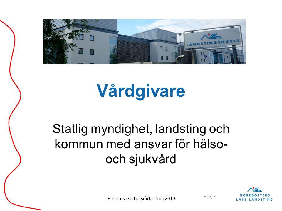 BILD 3 Patientsäkerhetsrådet Juni 2013 Vårdgivare Statlig myndighet, landsting och kommun med ansvar för hälso- och sjukvård