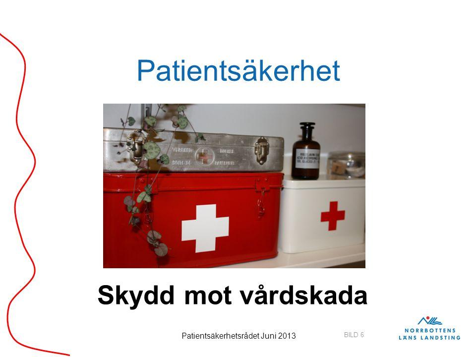 BILD 6 Patientsäkerhetsrådet Juni 2013 Patientsäkerhet Skydd mot vårdskada