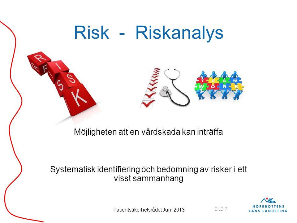 BILD 7 Patientsäkerhetsrådet Juni 2013 Risk - Riskanalys Möjligheten att en vårdskada kan inträffa Systematisk identifiering och bedömning av risker i