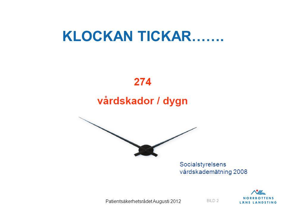 BILD 2 Patientsäkerhetsrådet Augusti 2012 KLOCKAN TICKAR……. Socialstyrelsens vårdskademätning 2008