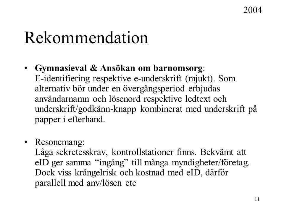 11 Rekommendation Gymnasieval & Ansökan om barnomsorg: E-identifiering respektive e-underskrift (mjukt).