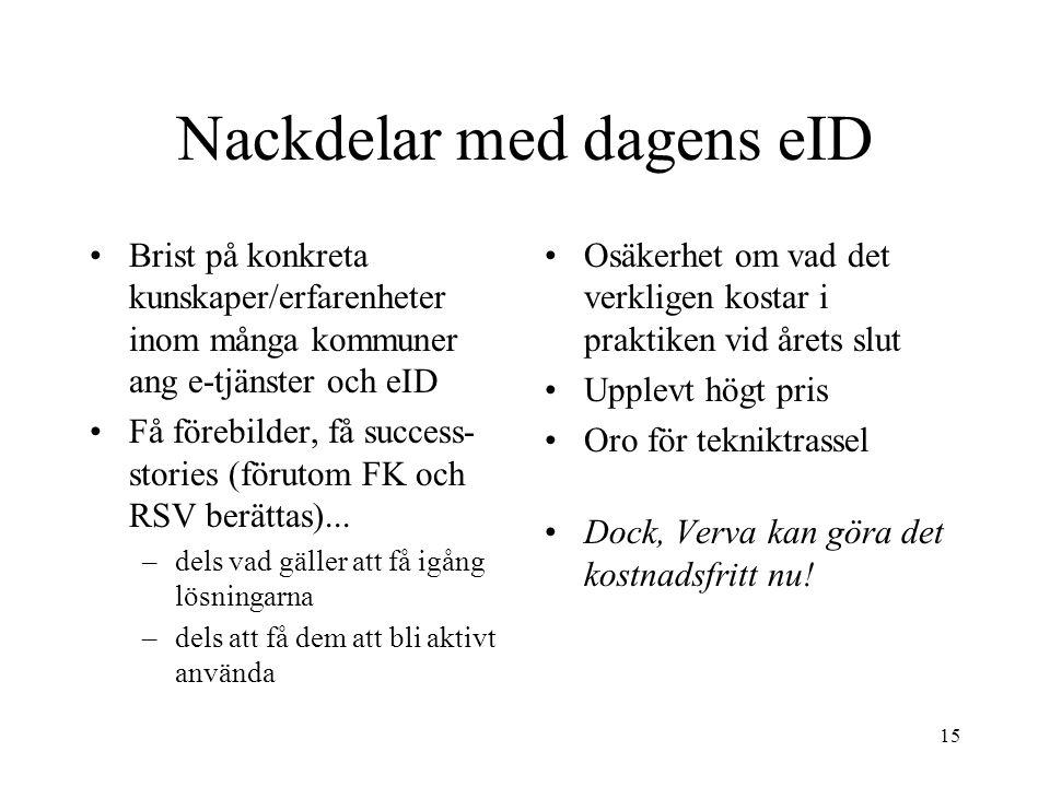 15 Nackdelar med dagens eID Brist på konkreta kunskaper/erfarenheter inom många kommuner ang e-tjänster och eID Få förebilder, få success- stories (förutom FK och RSV berättas)...