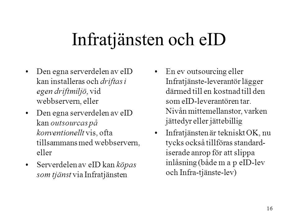 16 Infratjänsten och eID Den egna serverdelen av eID kan installeras och driftas i egen driftmiljö, vid webbservern, eller Den egna serverdelen av eID kan outsourcas på konventionellt vis, ofta tillsammans med webbservern, eller Serverdelen av eID kan köpas som tjänst via Infratjänsten En ev outsourcing eller Infratjänste-leverantör lägger därmed till en kostnad till den som eID-leverantören tar.